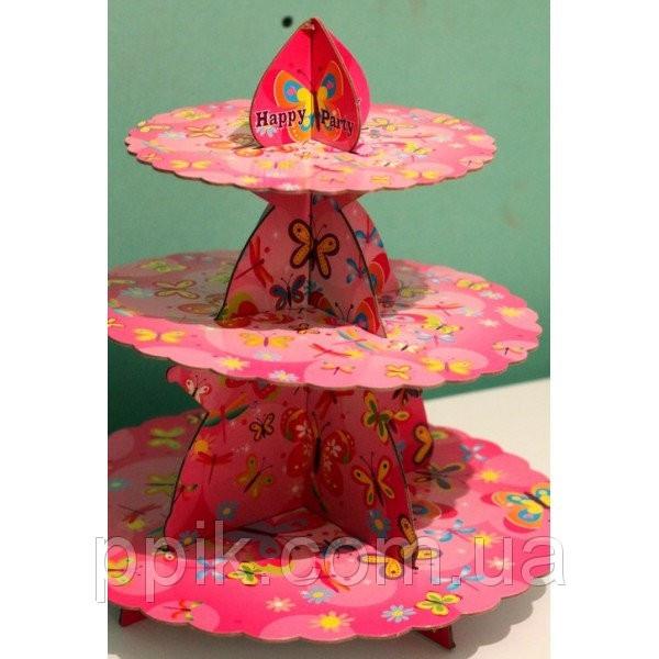 Стойка для капкейков Бабочки розовая