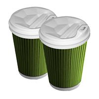 Бумажные стаканы 450 (500)мл Евро, двухслойные, Гофра, зелёные, белые внутри, 25 шт./рукав, шт. (арт.0139)