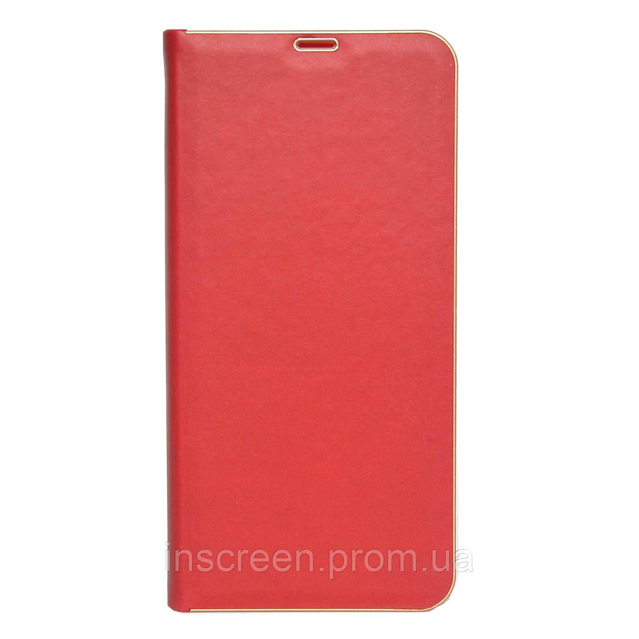Чохол-книжка Florence TOP 2 Xiaomi Redmi Note 9S, Note 9 Pro під шкіру червоний