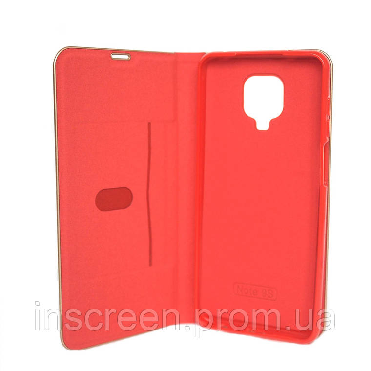 Чехол-книжка Florence TOP 2 Xiaomi Redmi Note 9S, Note 9 Pro под кожу красный, фото 2
