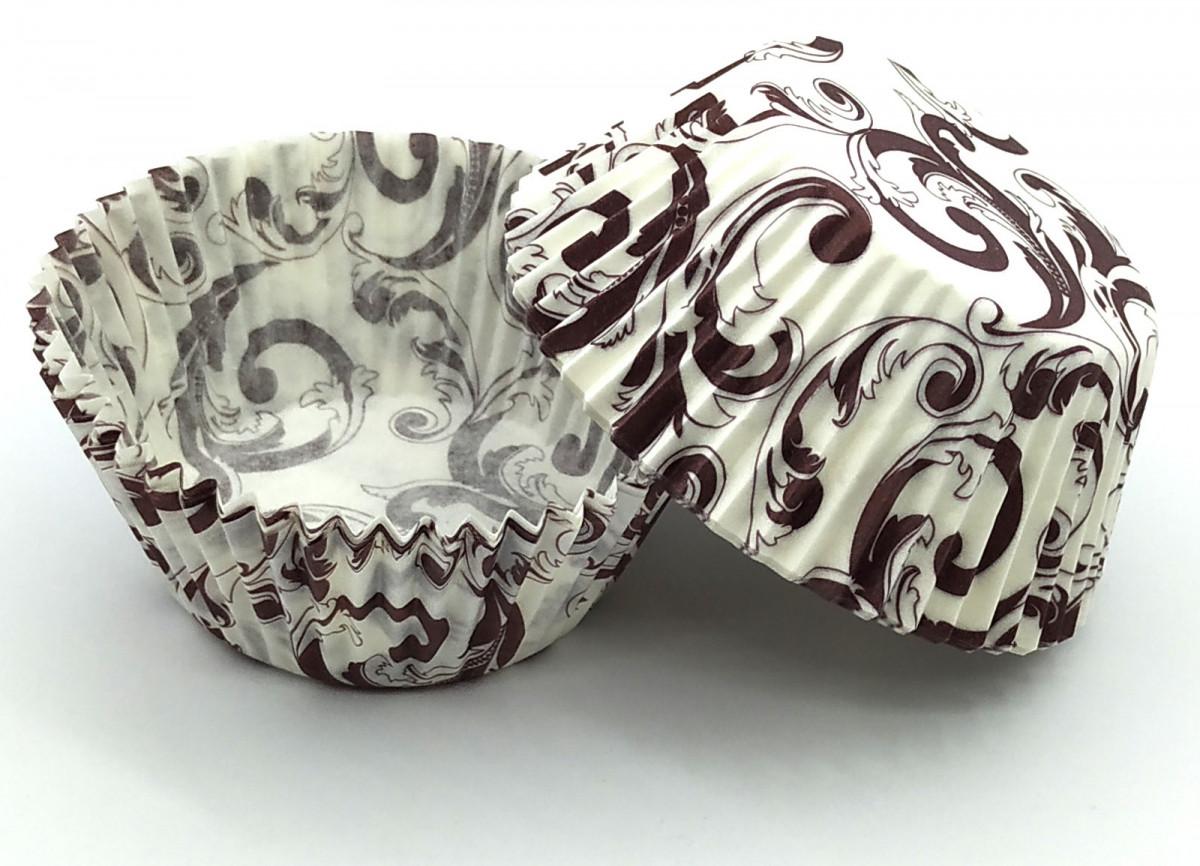 Тарталетки (капсулы) бумажные для кексов, капкейков Белые с коричневым завитком