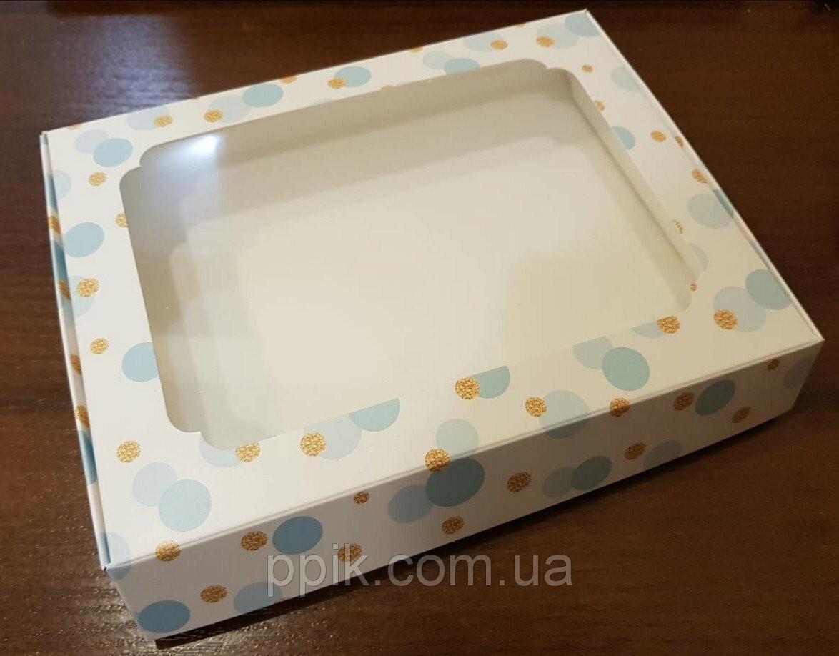 Коробка для пряников Шарики 3шт (15*20*3)см Голубые