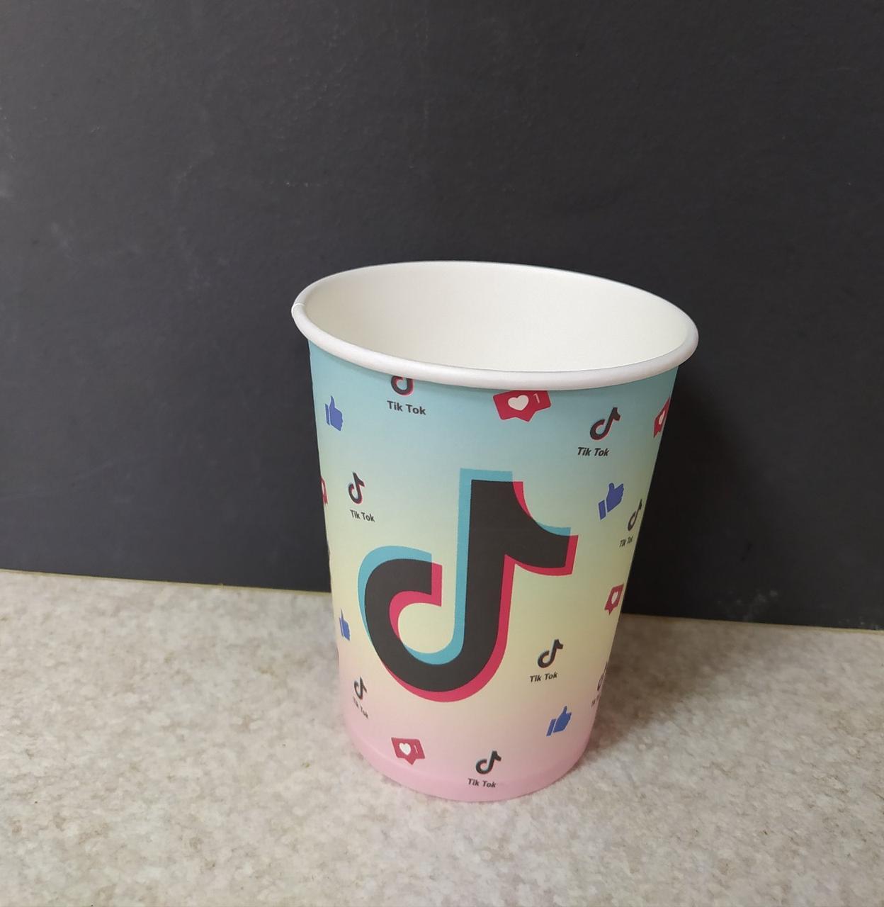 Набір паперових стаканів принт Tik Tok бірюзовий 250мл 5шт.