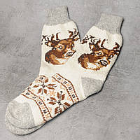 Мужские шерстяные носки, зимние тёплые носки c оленем, размер 42-44, фото 1