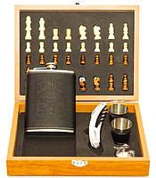 Мужской подарочный набор шахматы с флягой и стопками UKC №QZ8 в подарочной упаковке