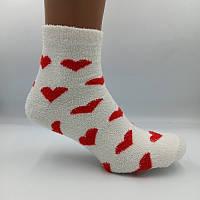 Шкарпетки жіночі теплі махра-травичка сердечка білі