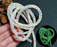 СВЕТЯЩИЙСЯ В ТЕМНОТЕ полый шнур в блёстках, 1 метр, Пастельный МИКС (светится зеленым), фото 1