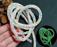 СВЕТЯЩИЙСЯ В ТЕМНОТЕ полый шнур в блёстках, 1 метр, Пастельный МИКС (светится зеленым)