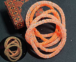 СВЕТЯЩИЙСЯ В ТЕМНОТЕ полый шнур в блёстках, 1 метр, ОРАНЖЕВЫЙ НЕОН (светится оранжевым)