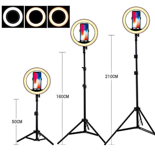 Набор блогера 2 в 1 Кольцевая LED лампа 26 см 16W с держателем для телефона и Штатив 2 м селфи кольцо 3 режима