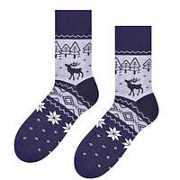 Мужские теплые серые носки Steven с оленями и орнаментом