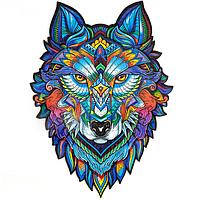Деревянный пазл «Величественный Волк» (300+ деталей, размер А3)