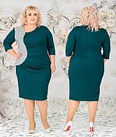 Женское нарядное платье батал с 48 по 62 рр креп дайвинг + пайетки