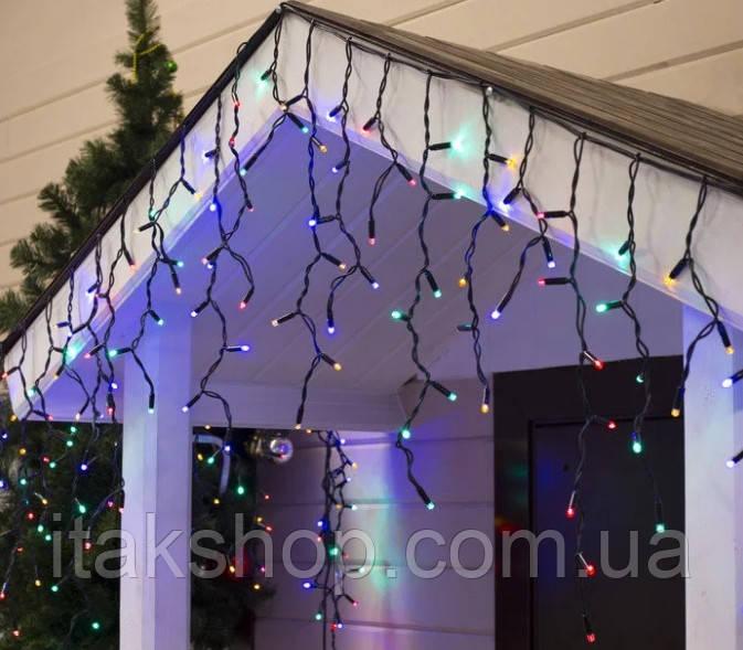 Гирлянда внешняя карниз 180 led RGB свет 5м Мигание (черный провод) последовательное соединение