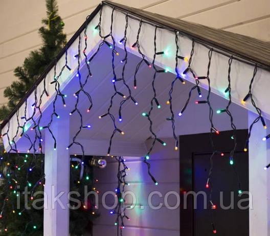 Гирлянда внешняя карниз 180 led RGB свет 5м Мигание (черный провод) последовательное соединение, фото 2