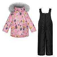 Детский зимний комплект Куртка Розовая мечта и Черный полукомбинезон / Детские куртки и комбинезоны зима, фото 1