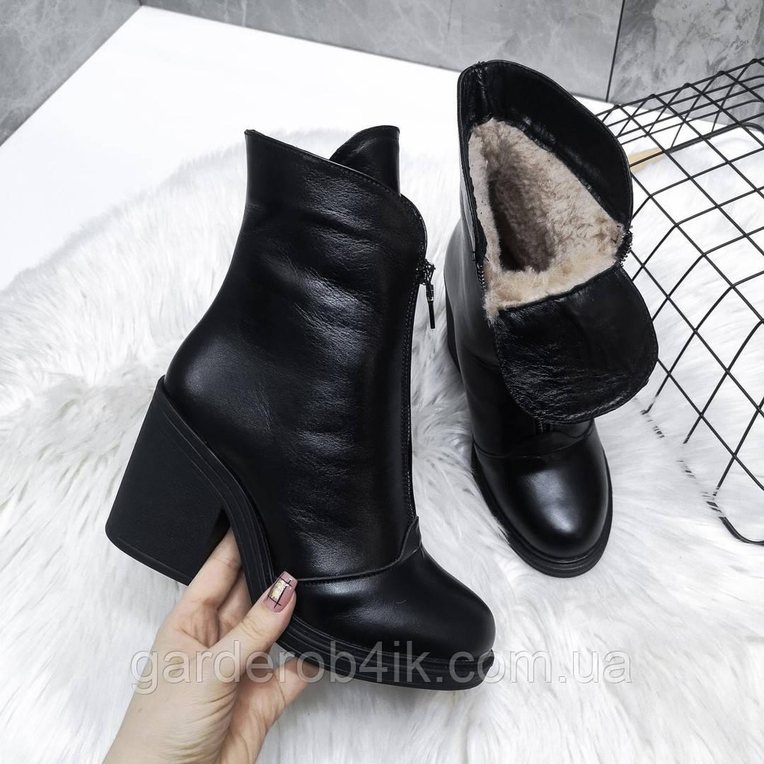 Женские кожаные ботинки ботильоны на каблуке