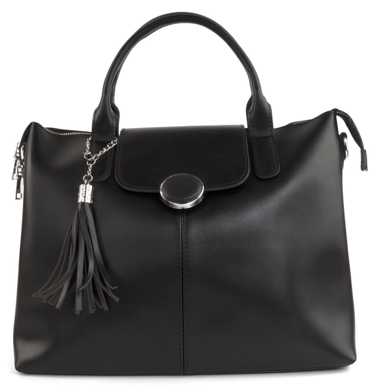Зручна містка стильна міцна жіноча сумка KISS ME art. K29 черн