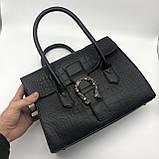 Женская большая сумка на ремешке рептилия крокодил с подковой черная, фото 3