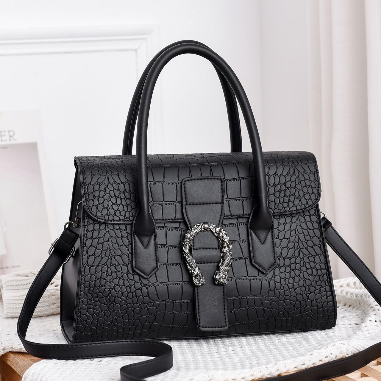 Женская большая сумка на ремешке рептилия крокодил с подковой черная