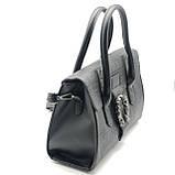 Женская большая сумка на ремешке рептилия крокодил с подковой черная, фото 4