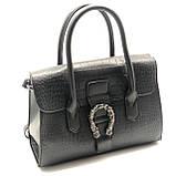 Женская большая сумка на ремешке рептилия крокодил с подковой черная, фото 2