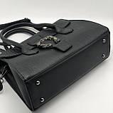 Женская большая сумка на ремешке рептилия крокодил с подковой черная, фото 6