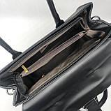 Женская большая сумка на ремешке рептилия крокодил с подковой черная, фото 7