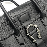 Женская большая сумка на ремешке рептилия крокодил с подковой черная, фото 8