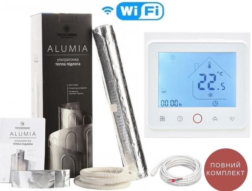 Мат теплого пола под ламинат Alumia 150Вт/м² 4,5м²675Ват нагревательный алюминиевый+терморегулятор TWE02 Wi-Fi