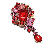 Брошь 5*9,5см Диор ажур с подвеской Красные рубины, фото 1