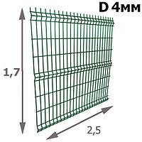 Ограждение 3Д: Секция Забора Сварная 1,7х2,5м (зеленая) D прута 4мм