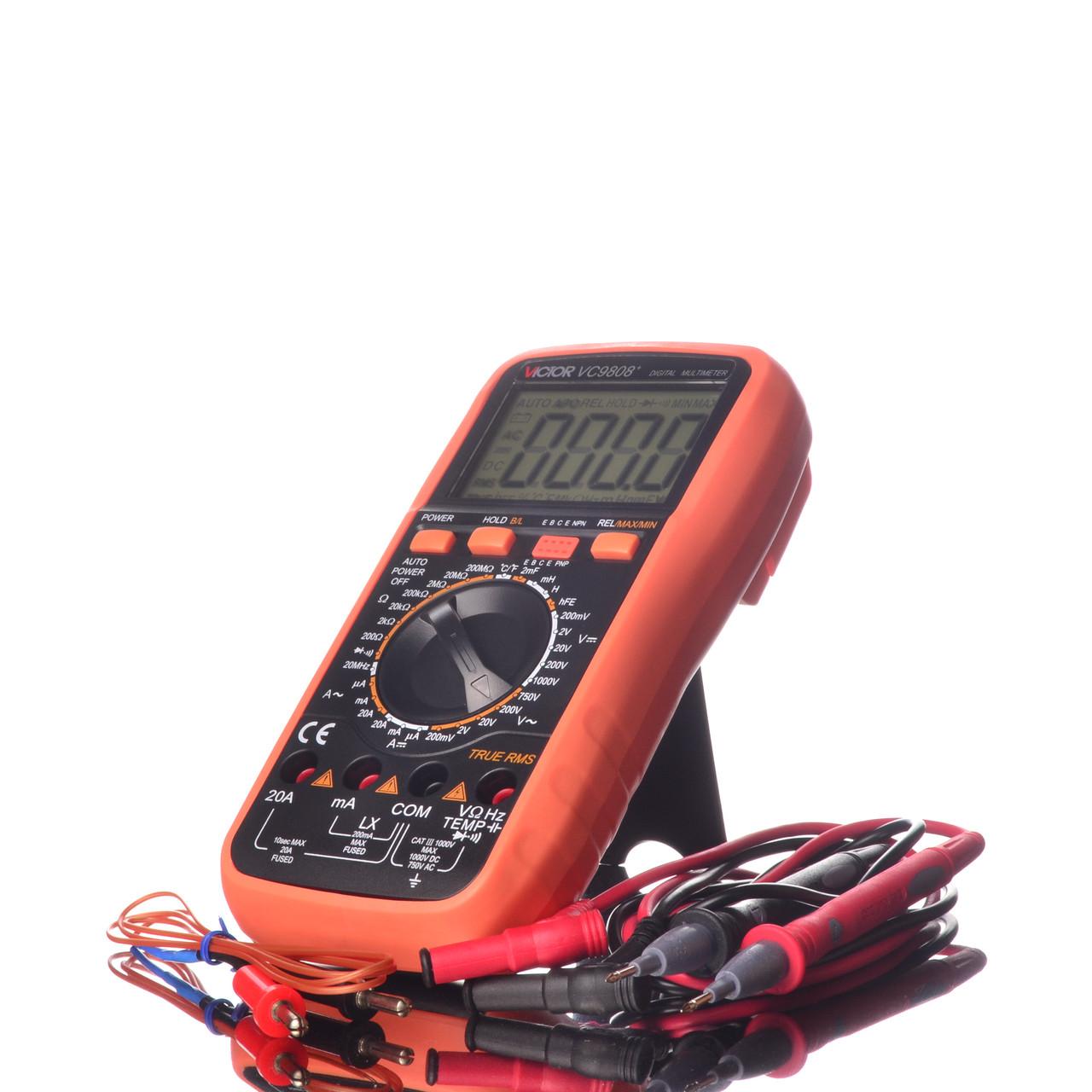Мультиметр цифровой Victor VC9808+ термопара, True RMS, защитный чехол, подсветка дисплея
