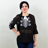 Жіноча вишита блузка TM KOSAR Орнамент 4XL56 Чорний 184-55656, КОД: 1727169