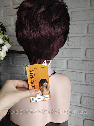 Парик короткая стрижка вишня буругундия бордовый парик, фото 2