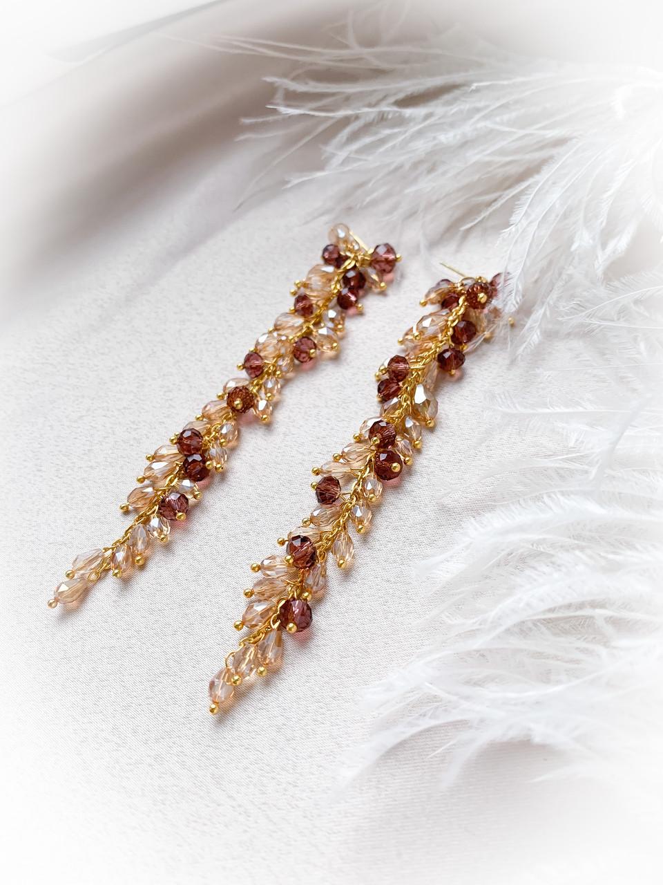 Серьги грозди золото марсала длина 12см