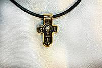 Крест с  позолотой. Спас нерукотворный покров Божией Матери