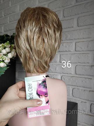 Парик короткая стрижка светлорусый блондин боб каре на стойке, фото 2