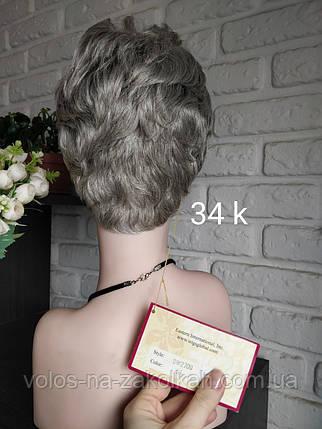 Парик короткая стрижка каре стойка пепельный седой серый Корея, фото 2