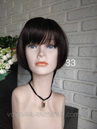 Парик короткая стрижка парик боб каре шатен брюнет коричневый, фото 2