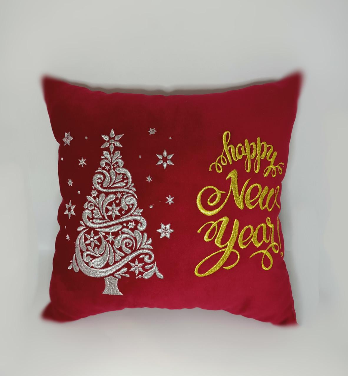 """Подушка новогодняя """"Happy New year"""" красная"""