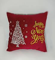 """Подушка новогодняя """"Happy New year"""" красная, фото 1"""