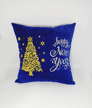 """Подушка новогодняя """"Happy New year"""" синяя"""
