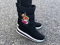 """Жіночі чобітки дутики """"Квіти"""", фото 1"""
