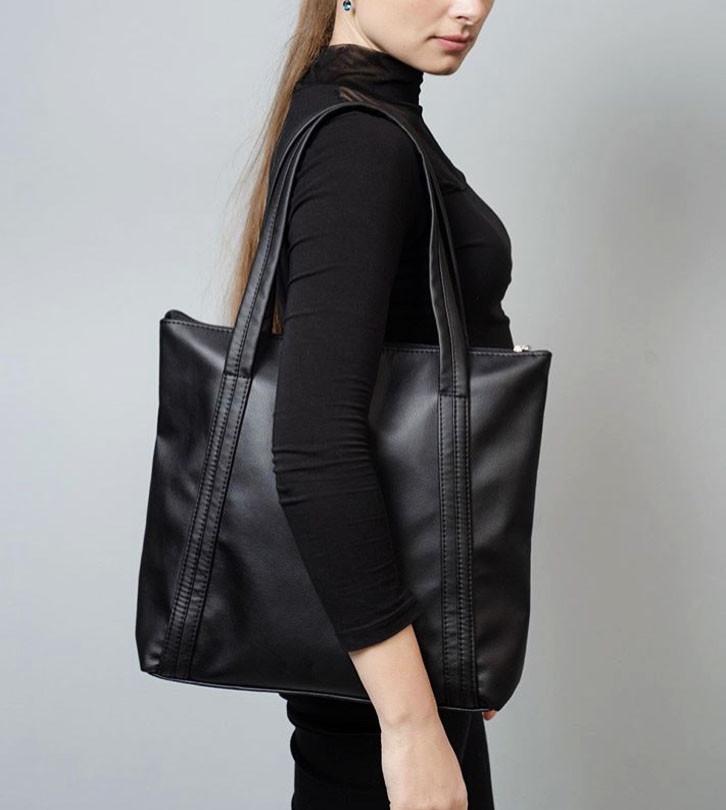 Вместительная повседневная женская черная сумка-шоппер с двумя ручками из экокожи