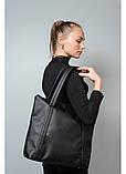 Вместительная повседневная женская черная сумка-шоппер с двумя ручками из экокожи, фото 2