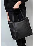 Вместительная повседневная женская черная сумка-шоппер с двумя ручками из экокожи, фото 4