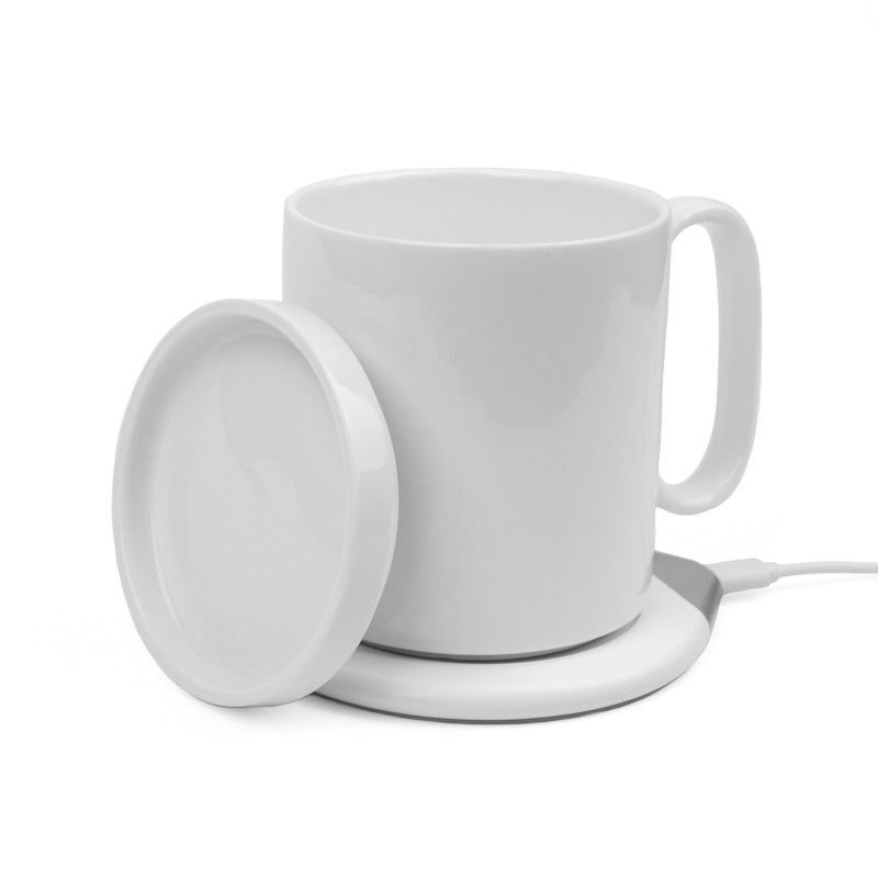 Чашка с подогревом и беспроводной зарядкой HOT SMART белая 350 мл