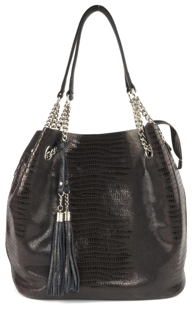 Стильная  женская мягкая сумка из натуральной кожи с лазерной обработкой art. 7638