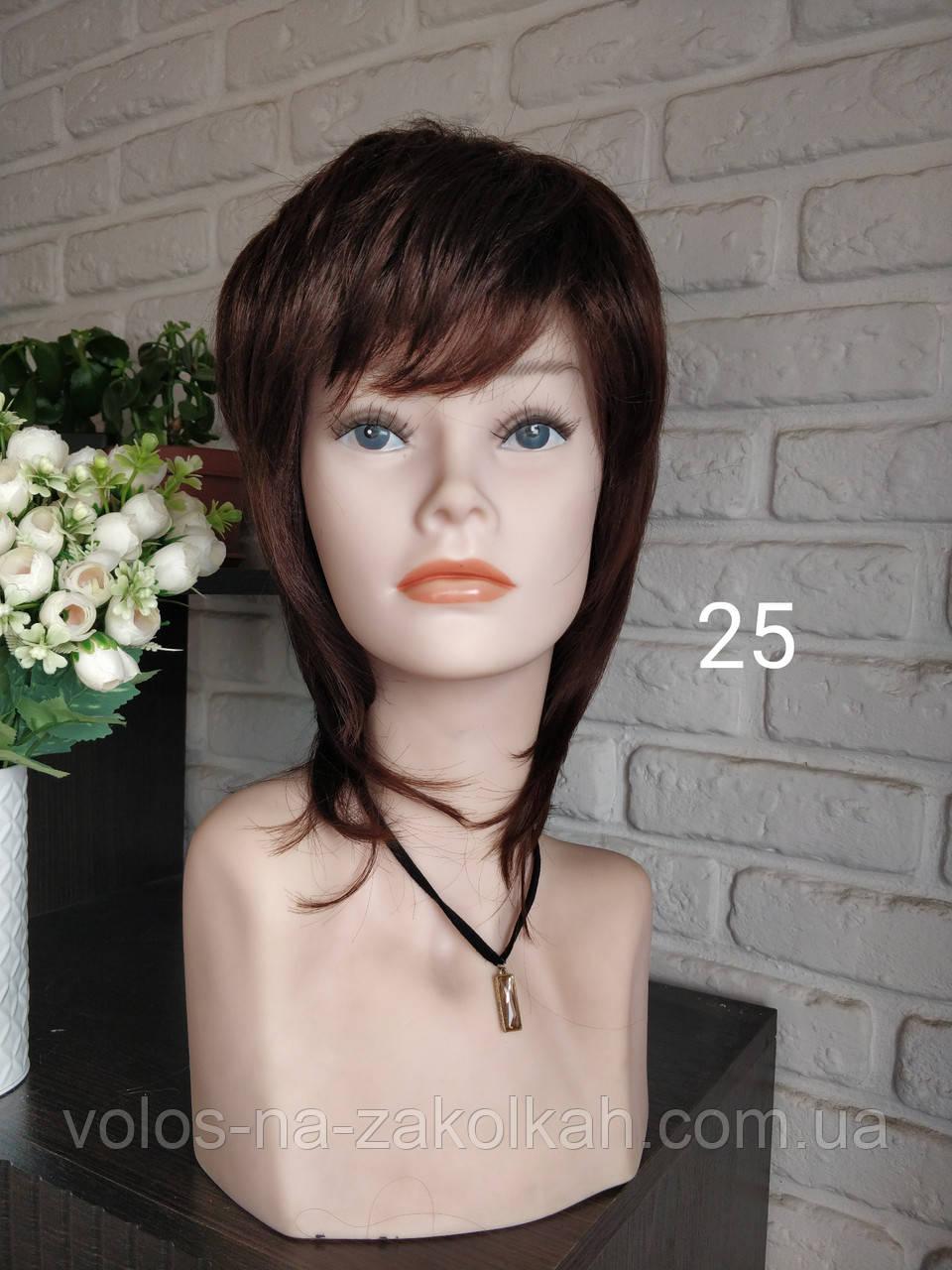 Парик короткая стрижка по шею коричневый парик 02031